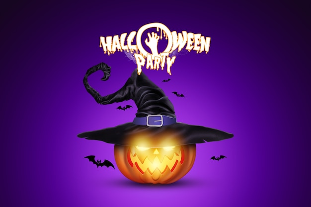 Creative halloween background. halloween party lettering and pumpkin image.