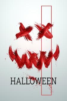 Творческий фон хэллоуина. надпись хэллоуин и кровь на светлом фоне.