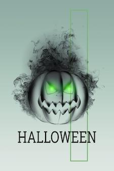 Творческий фон хэллоуина. надпись хэллоуин и тыква на светлом фоне.
