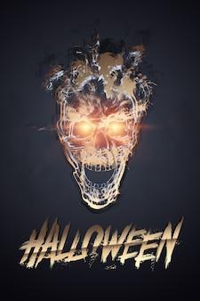 Творческий фон хэллоуина. надпись хэллоуин и череп на темном фоне.