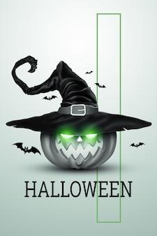 Творческий фон хэллоуина. тыква в шляпе ведьмы на светлом фоне.
