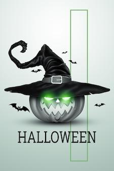 Creative halloween background. pumpkin in a witch's hat on a light background.