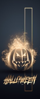 Творческий баннер хэллоуина. надпись хэллоуин и злая тыква на темном фоне.