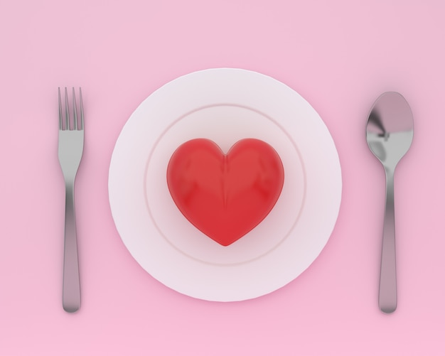 Creative of heart on plate with spoons and forks on pink color. minimal healthcare concept
