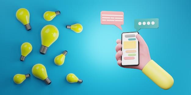 創造的なアイデアとイノベーションの概念、3dイラスト