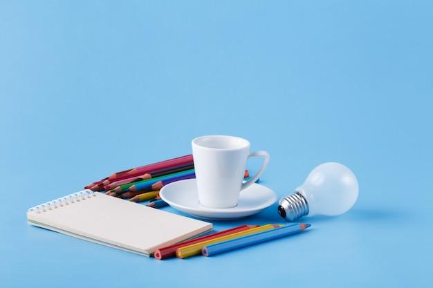 Creative idea for artist, clolour pencils and light bulb