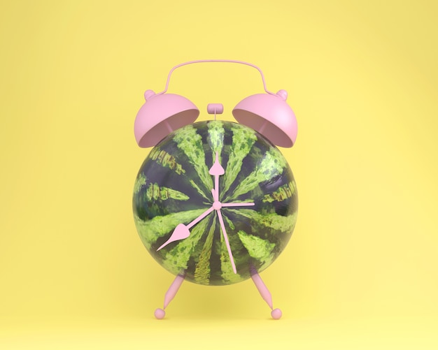 Creative idea layout fresh watermelon alarm clock