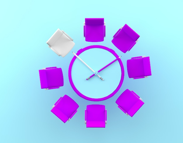 Creative idea layout pencil clock and  difference of the white chair on blue background.