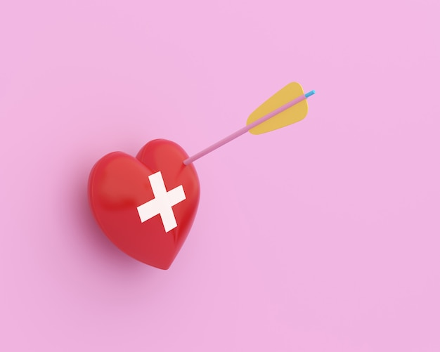 Creative idea layout red heart with arrow with icon healthcare medical on pink pastel background.