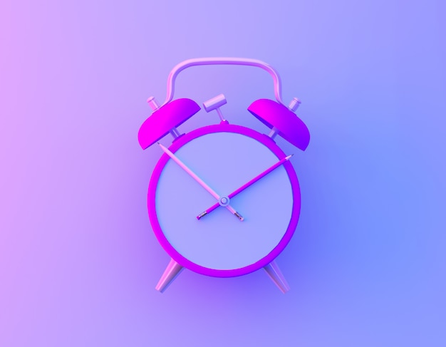 Creative idea layout slice alarm clock and pencil in vibrant bold gradient purple and blue holographic colors background.