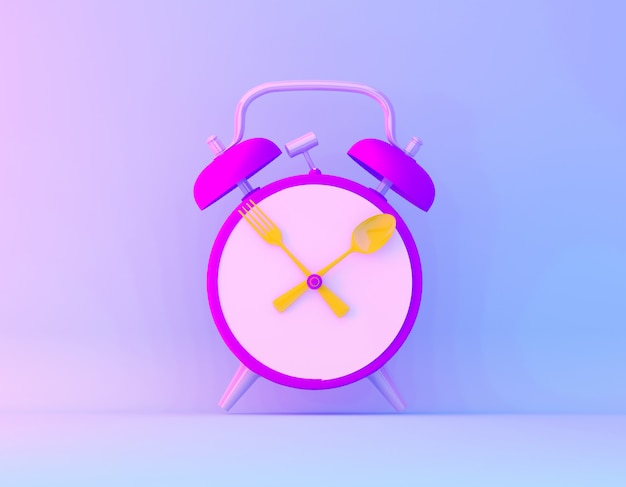 Creative idea layout slice alarm clock in vibrant bold gradient purple and blue holographic colors background.