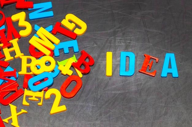 創造的なアイデア:黒い黒板の背景に色付きの文字でアイデアと革新の概念