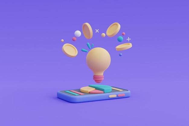 투자 개념에 대한 창의적인 아이디어, 파이 차트 3d 렌더가 있는 스마트폰에 동전이 있는 전구.