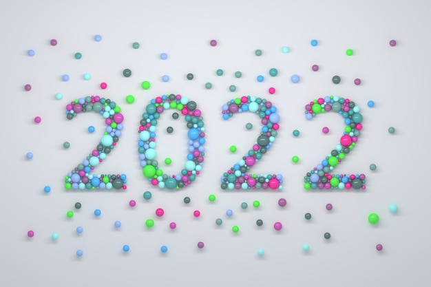 Creative illustration with new year 2022 numbers made of colorful bubbles