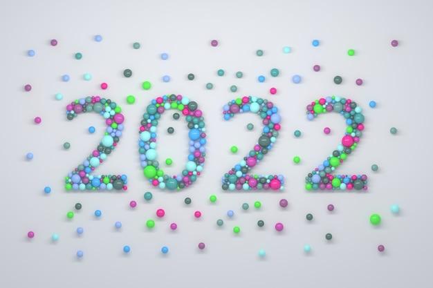 다채로운 거품으로 만든 새해 2022 숫자로 창조적 인 그림