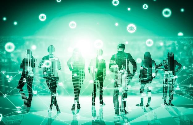 많은 비즈니스 사람들이 회의 그룹 회의의 창조적 인 이미지