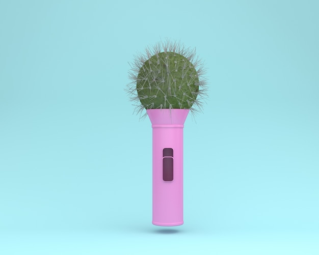 Creative layout cactus microphone floating on blue pastel