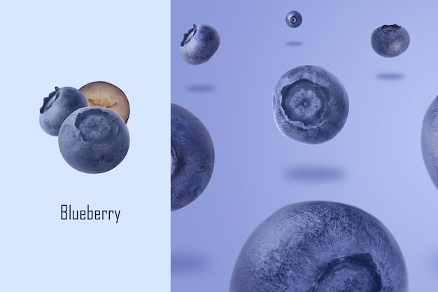 Creative layout made of blueberries levitating over purple background, food background with summer berries. creative minimalism