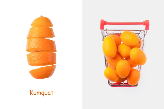 Creative layout made of  cumquat or kumquat in a shopping cart on gray background