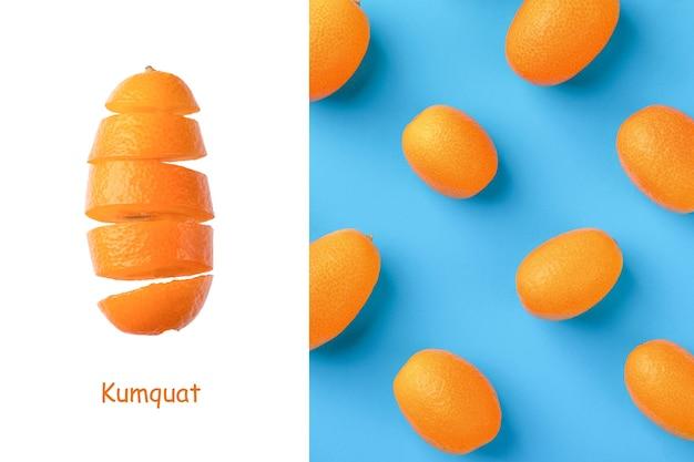 Creative layout made of  fresh kumquats on a blue  background.