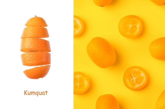 Creative layout made of fresh kumquats on a yellow  background