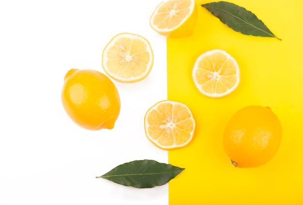Creative layout made of lemon. flat lay. food concept.