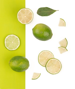 Creative layout made of lime. flat lay. food concept.