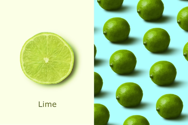 Creative layout made of lime pattern over blue background. flat lay. minimalism concept. Premium Photo