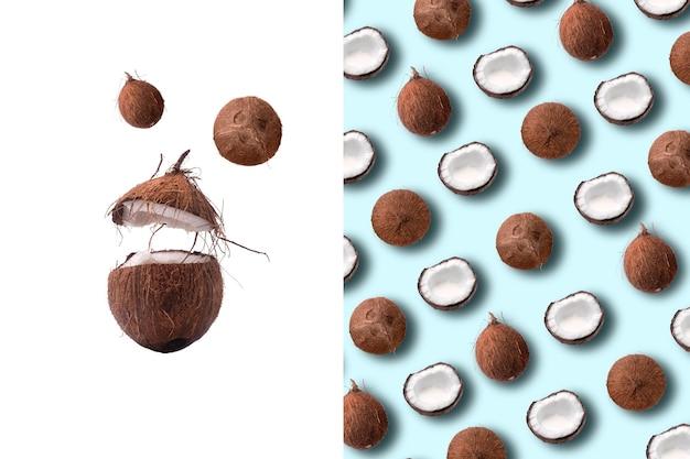 파스텔 블루 배경에 코코넛 패턴의 크리 에이 티브 레이아웃.