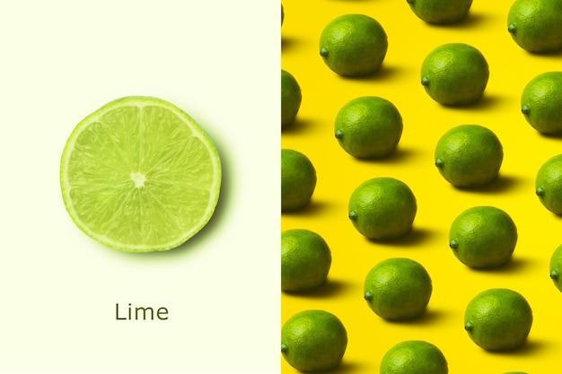 라임 패턴으로 만든 창의적인 레이아웃입니다. 플랫 레이. 미니멀리즘 개념입니다.