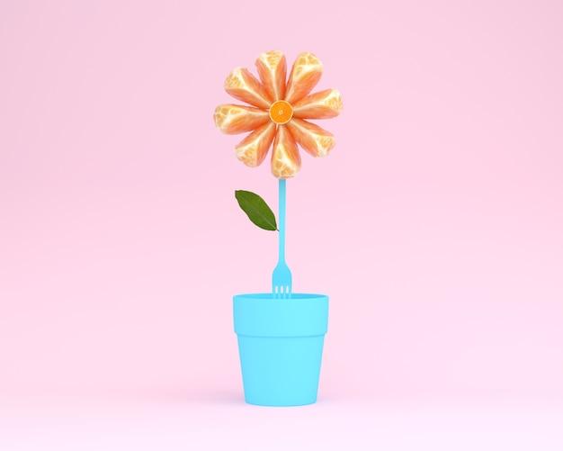 분홍색 배경에 화분 오렌지 슬라이스 꽃의 창조적 인 레이아웃이했다. 최소한의 아이디어