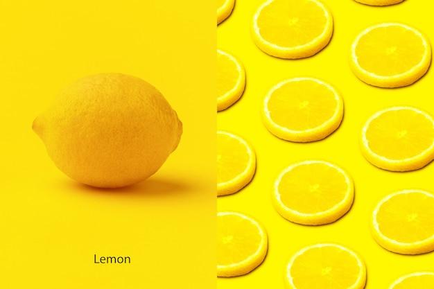 노란색 배경에 레몬 조각으로 만든 창의적인 레이아웃