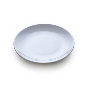 Творческий макет из белой пластины на белом фоне. плоская планировка. концепция питания.