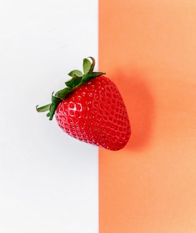Creative layout made of strawberry. food concept. summer minimalism. flat lay.