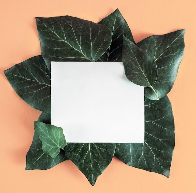 Креативный макет с зелеными листьями и бумажной карточкой с копией пространства.