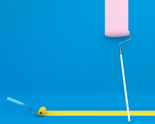 ペイントローラーコーンの創造的なレイアウトは、青い背景にブラシの色のトレイルです