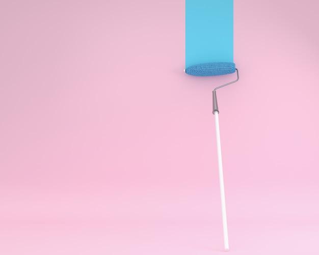 壁にピンクのペイントローラーコーンのクリエイティブなレイアウトピンクの背景
