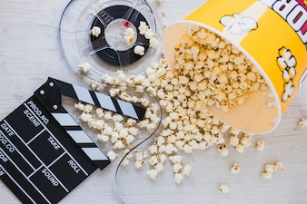 Creative layout of popcorn and movie film