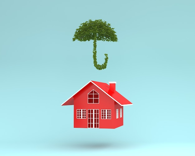 Creative layout of red house with plant umbrella floating on blue background