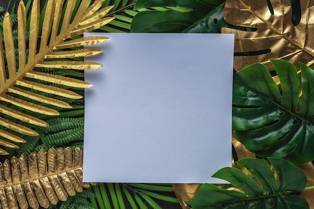 Creative layout with gold and green tropical palm leaves with white frame on black background.