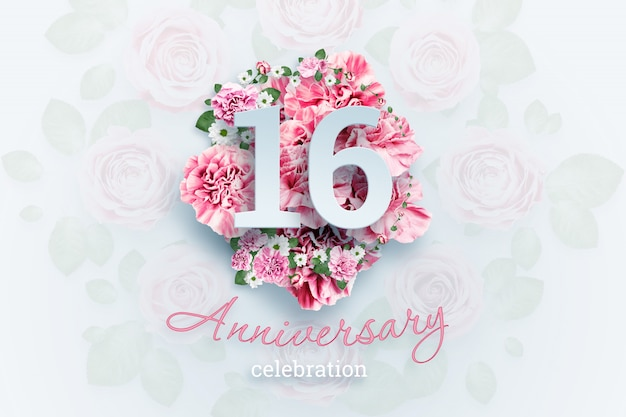 Creative lettering 16 numbers and anniversary celebration text on pink flowers., celebration event, template, flyer