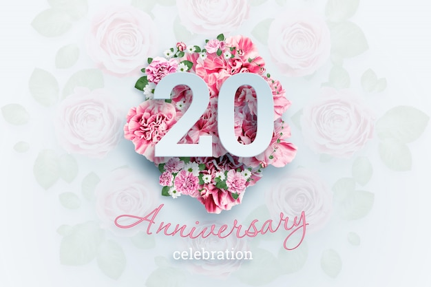 Creative lettering 20 numbers and anniversary celebration text on pink flowers., celebration event, template, flyer