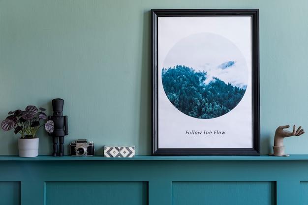 モックアップポスターフレームとエレガントなアクセサリーテンプレートを備えたクリエイティブなリビングルームのインテリアデザイン