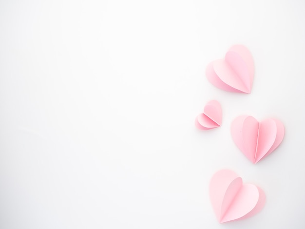 Creative love pink paper hearts