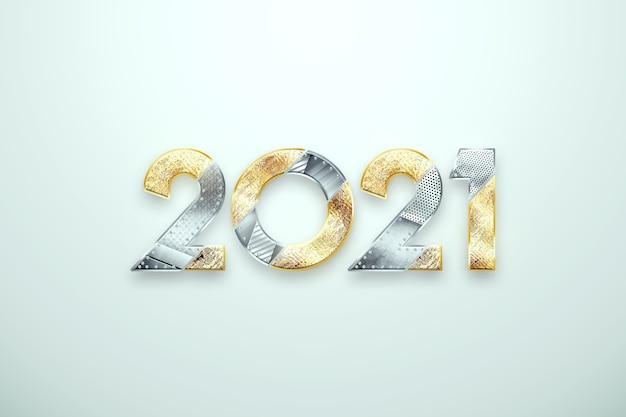 創造的な高級2021デザイン、新年チラシ、明るい背景に金属と金の番号を持つ2021をレタリングします。