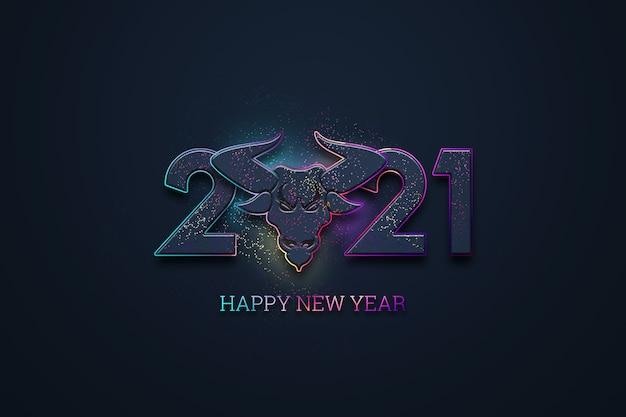 Креативная роскошная надпись 2021 года и изображение быка на темном фоне.