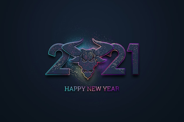 Creative luxury 2021 lettering and bull image on dark background.