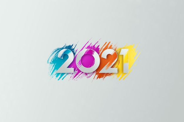 Creative luxury 2021 multicolored lettering on light background.