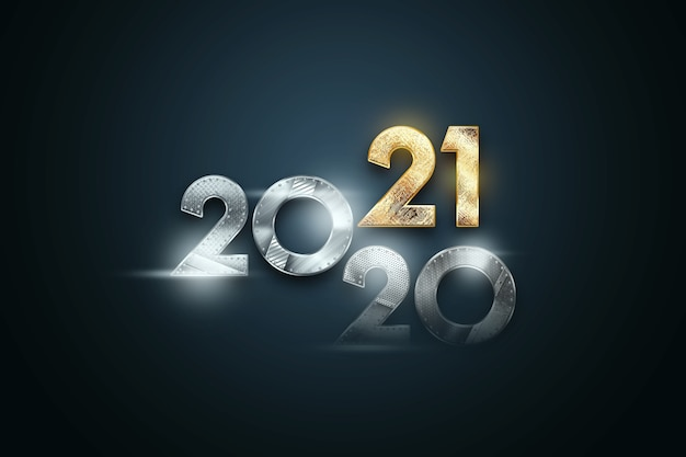 Creative luxury lettering 2021 with metal numbers on dark background.