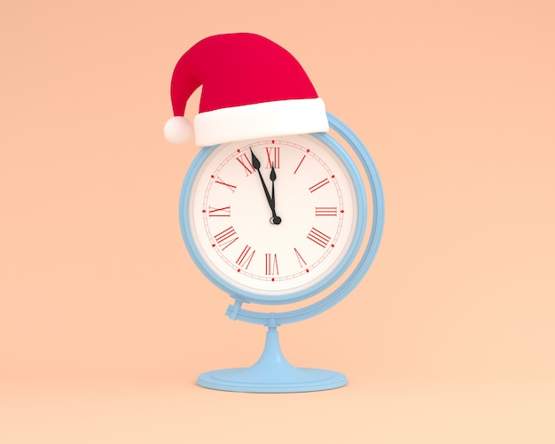 Creative made of santa hat with globe sphere orb clock concept on pastel orange color